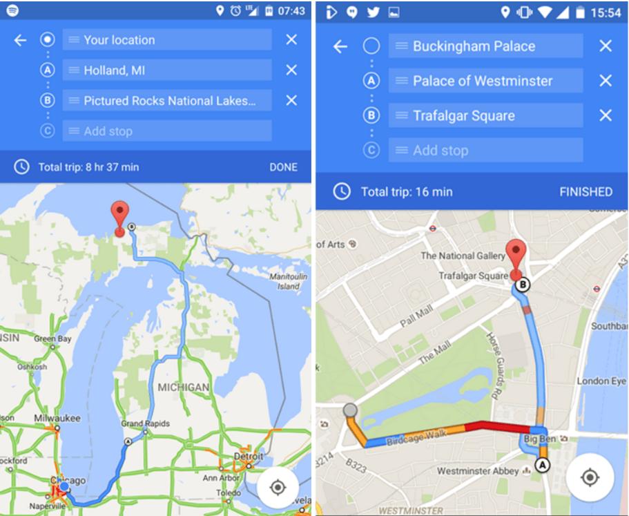 google maps zwischenstopps