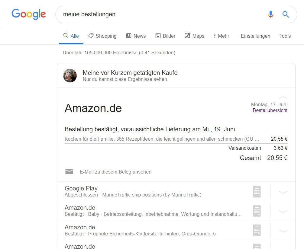 google meine bestellungen