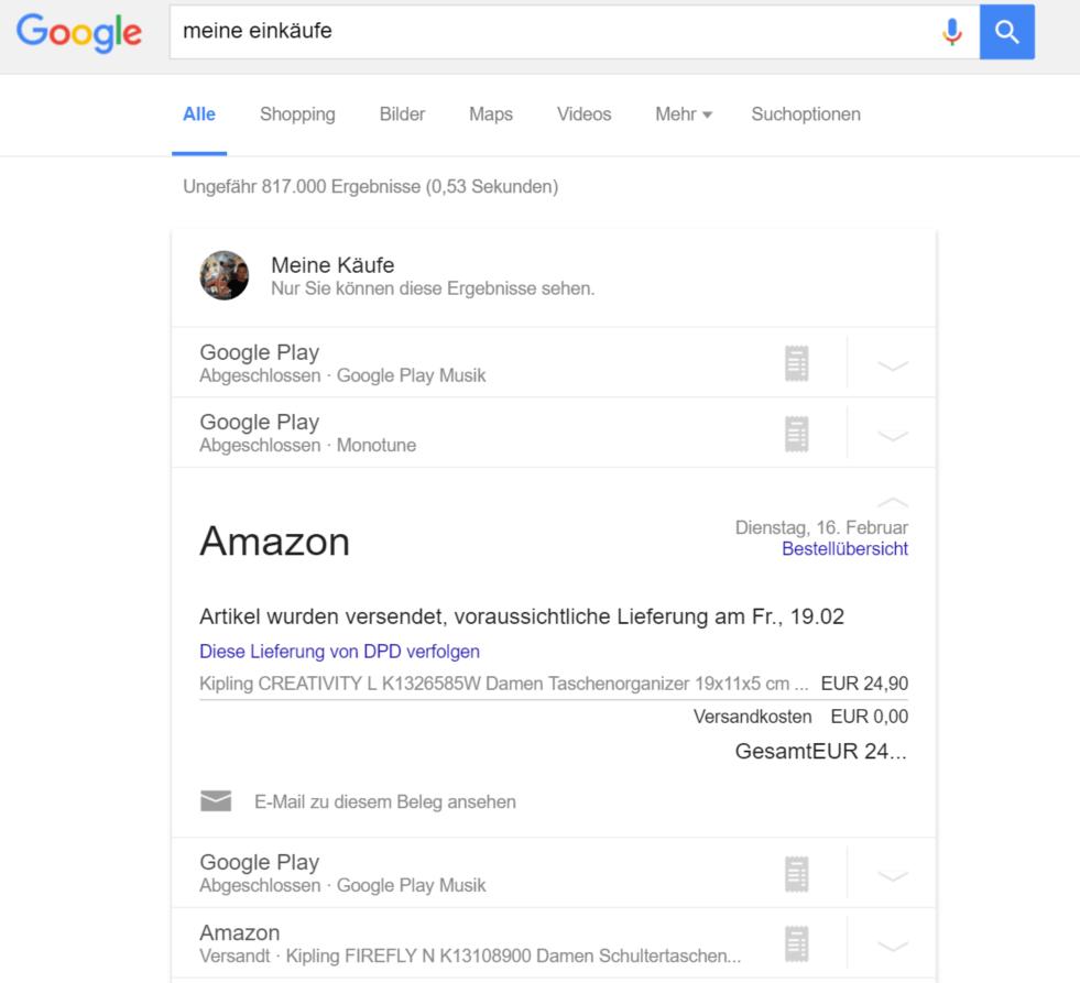 google meine einkäufe