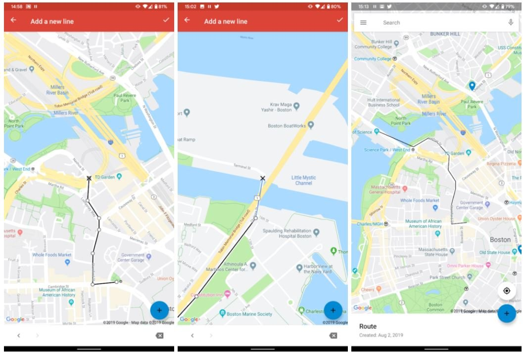 google my maps line
