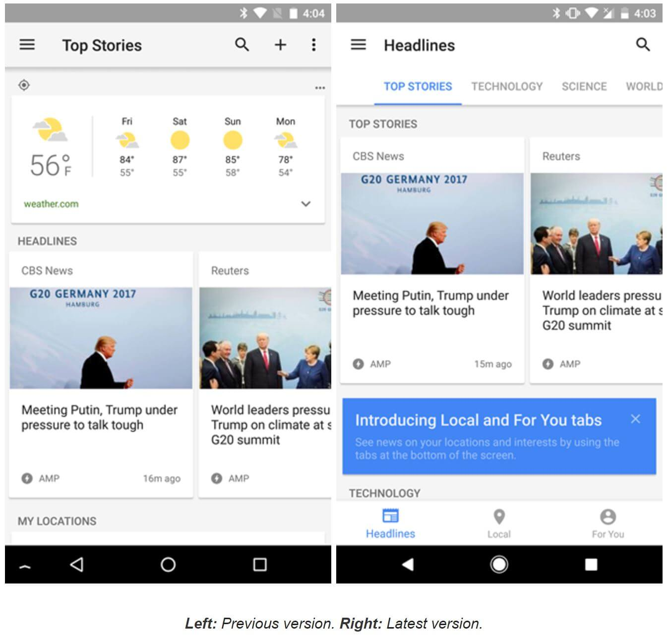 google news and weather update