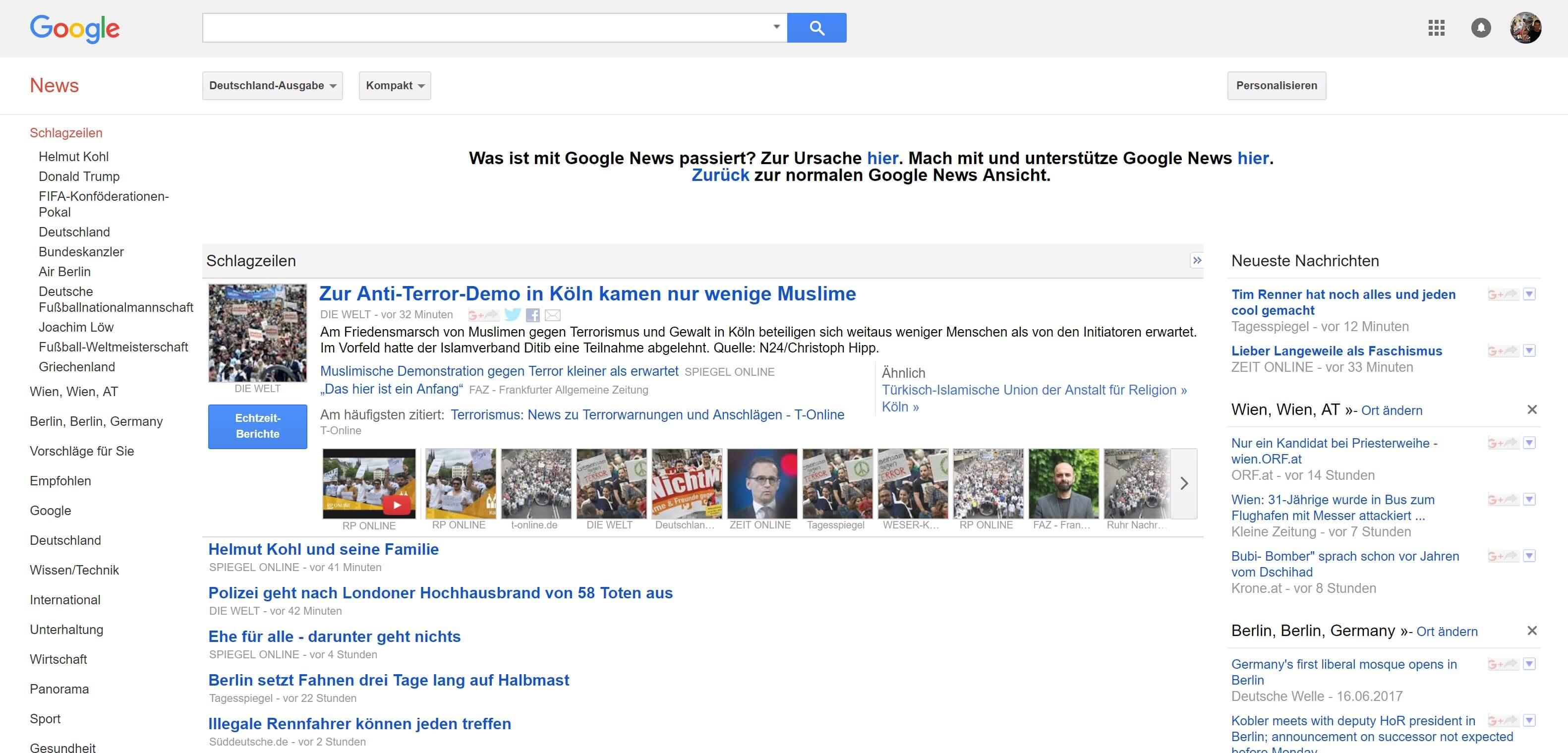 google news fehler