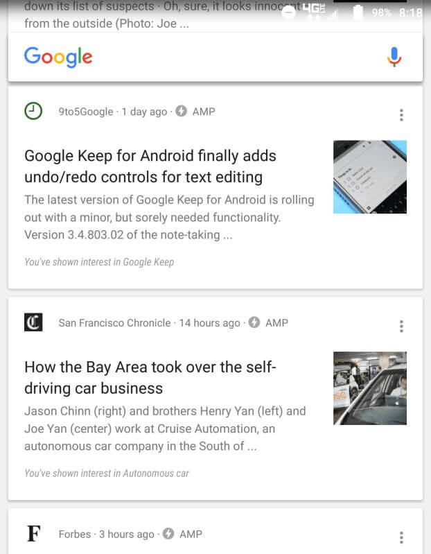 google now amp