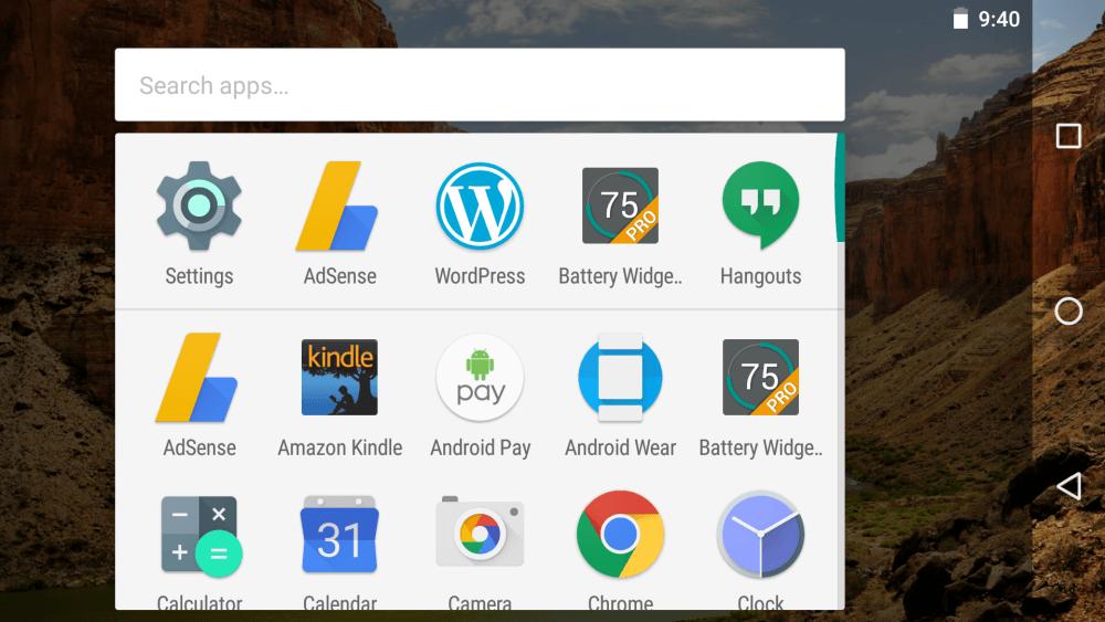 google now app drawer