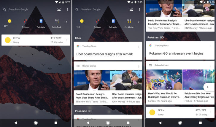 google now feed design