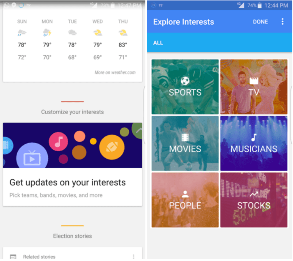 google now interessen