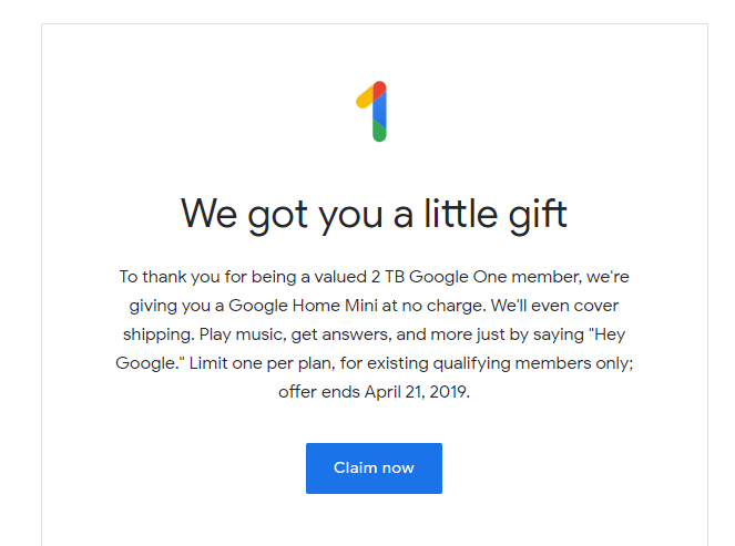 google one gift text
