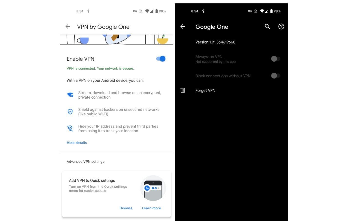 google one vpn screenshot