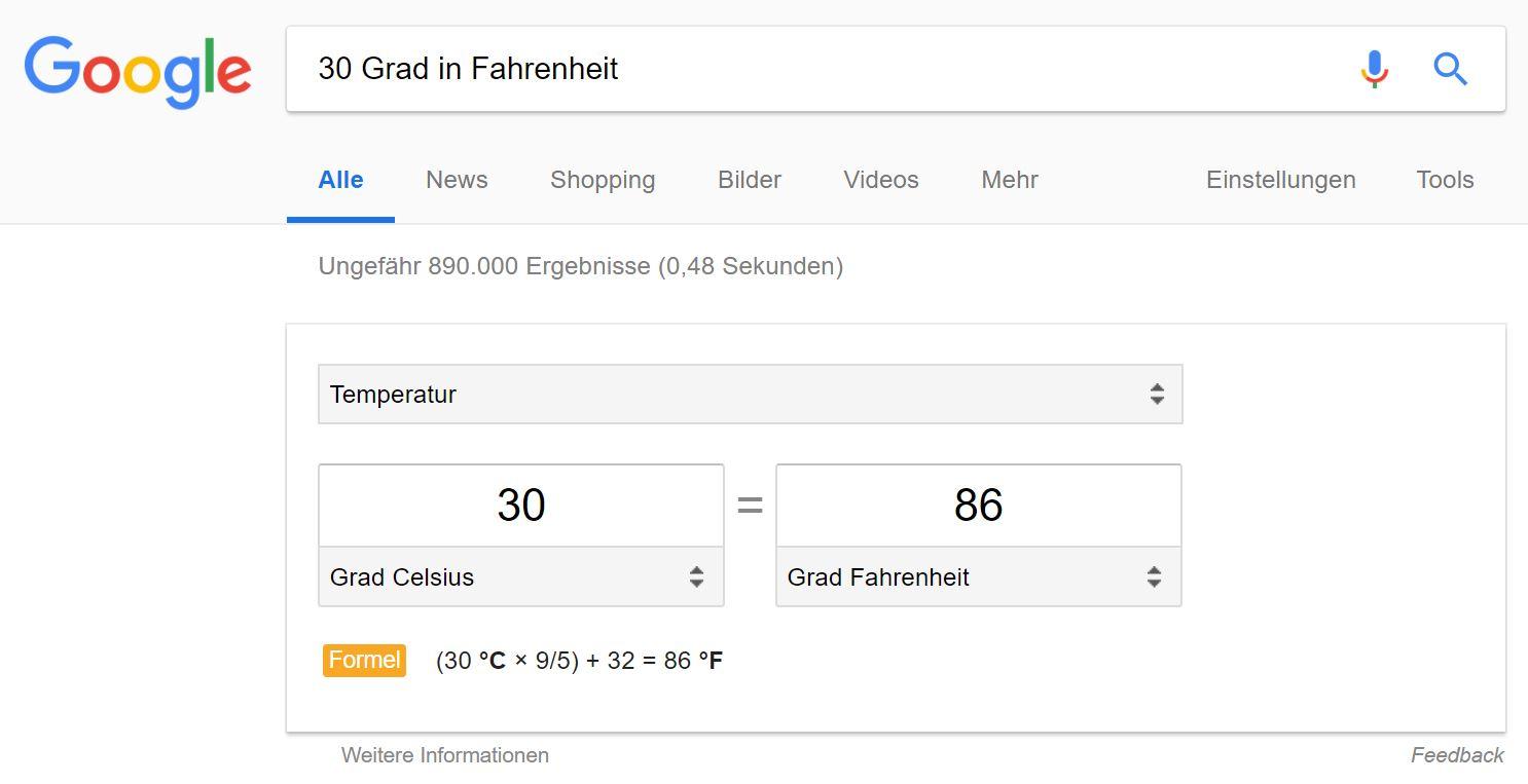 google onebox temperatur formel