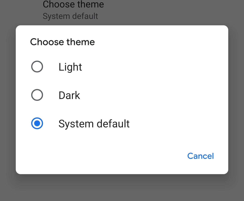 google phone dark mode settings