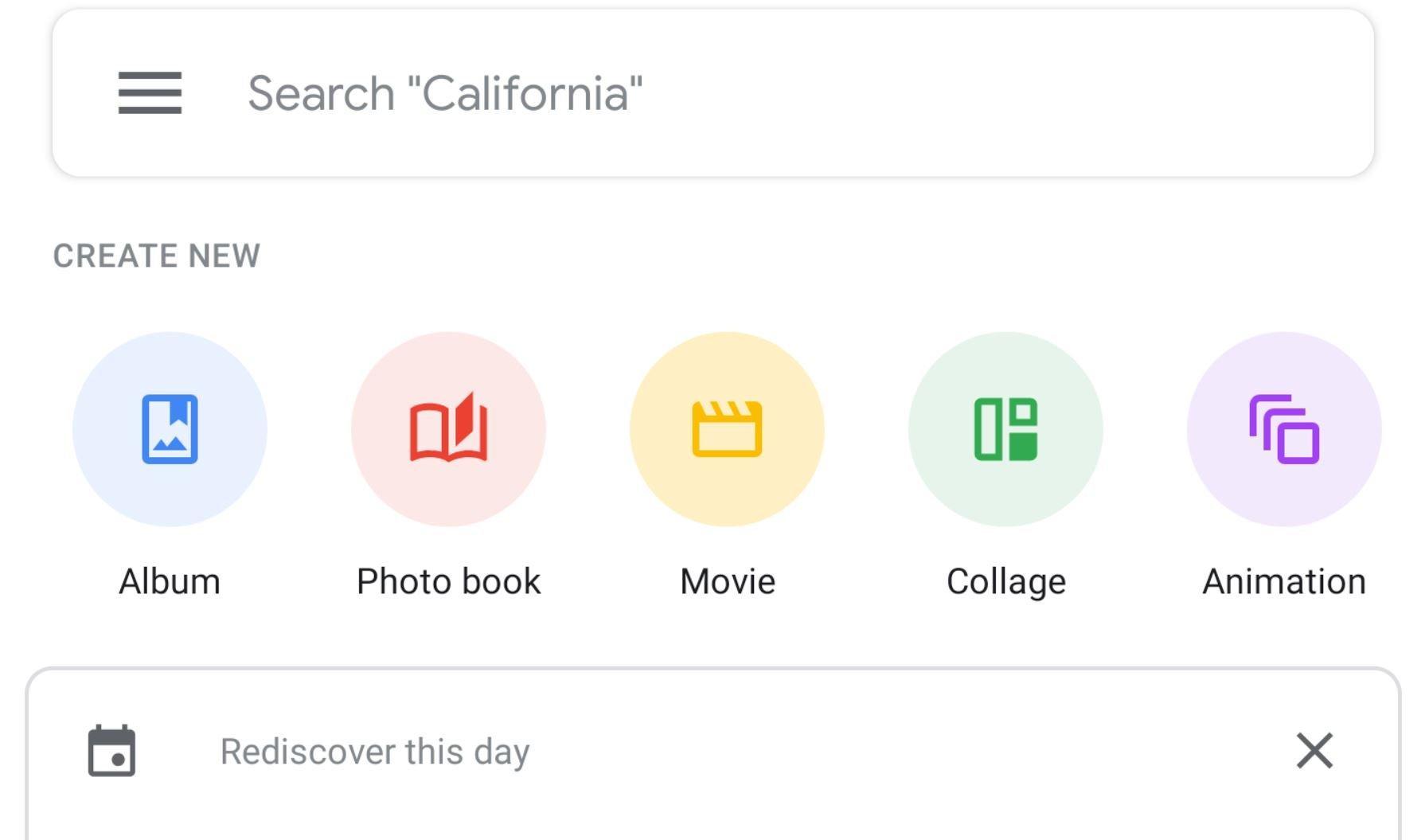 google photos buttons