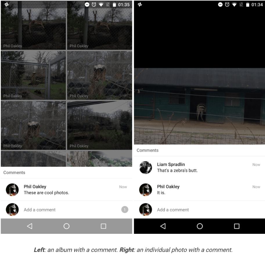 google photos comment