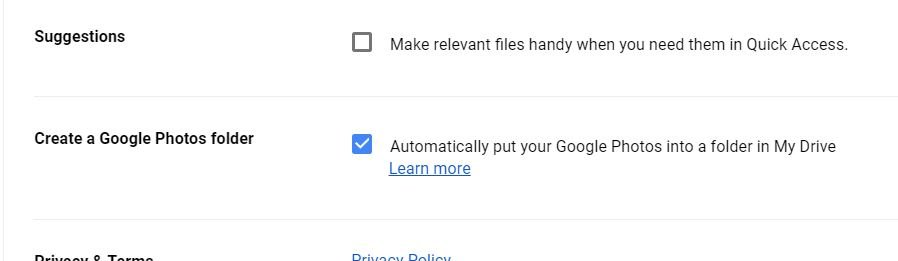 google photos folder