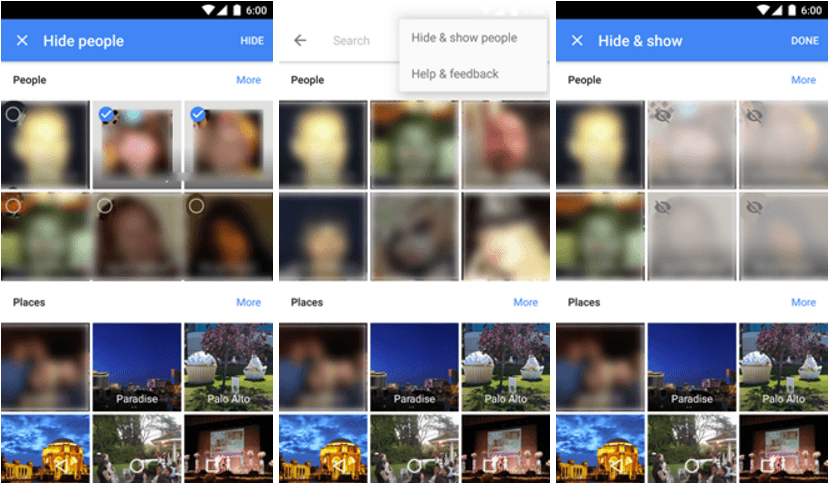 google photos hide faces