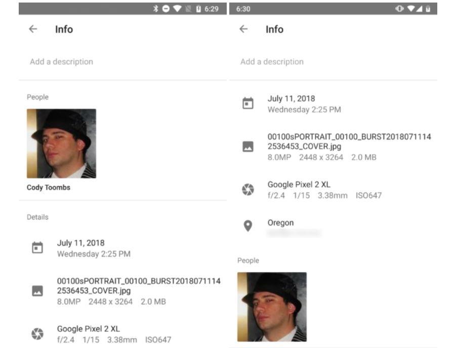google photos info