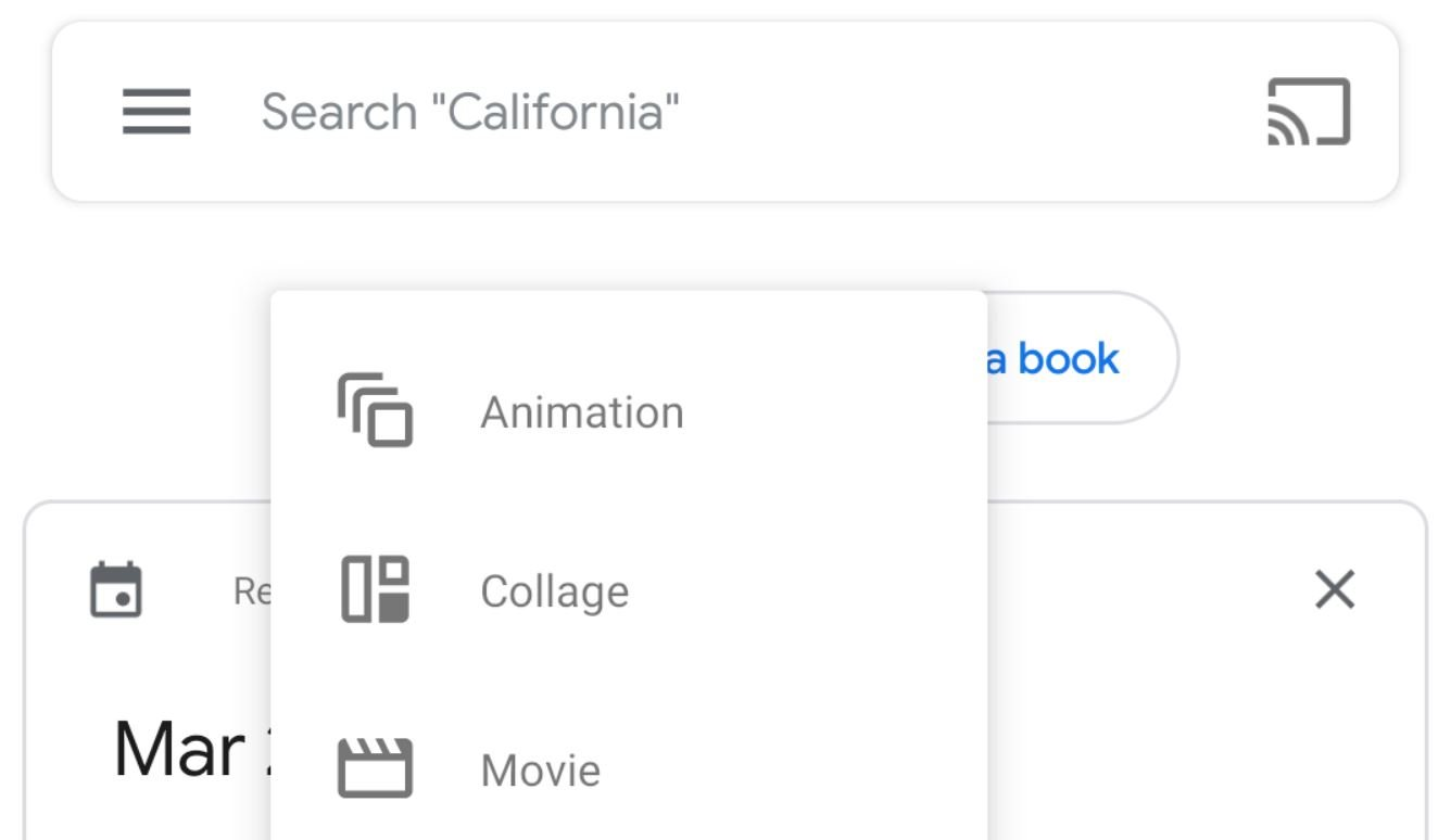 google photos new buttons menu