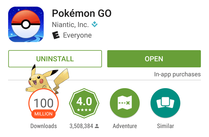 google play 100 mio pokemon