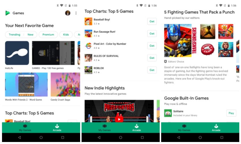 google play games arcade