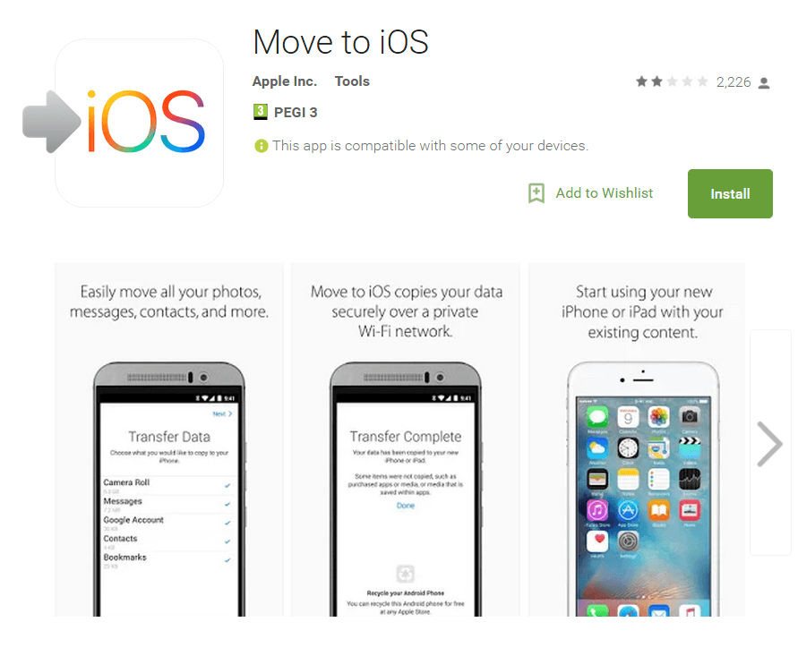 google play move to ios