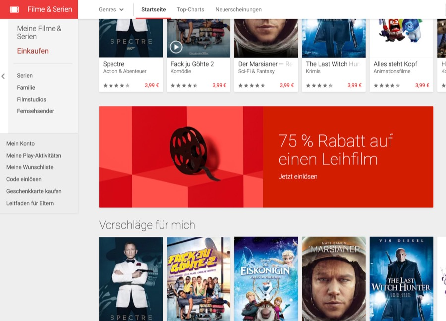 google play movies aktion