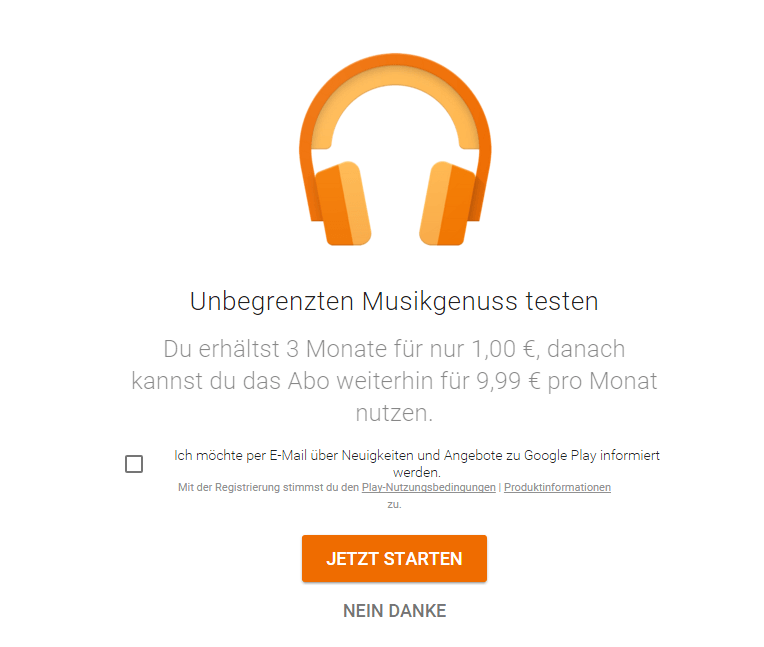 google play music 1 euro