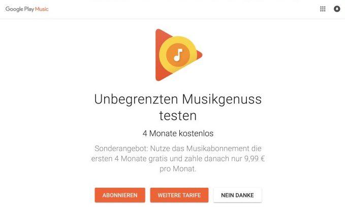google play music vier monate kostenlos