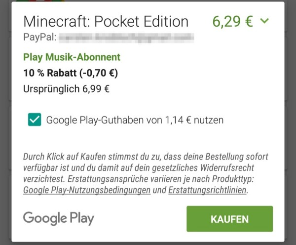 google play restguthaben