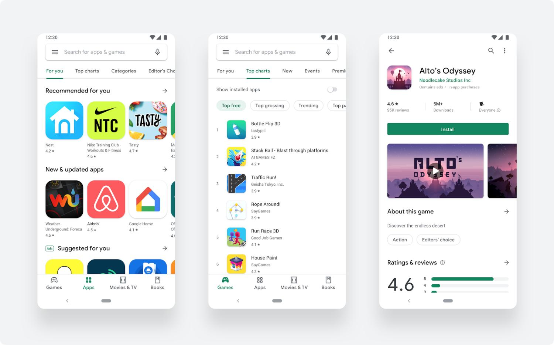 google play store new design