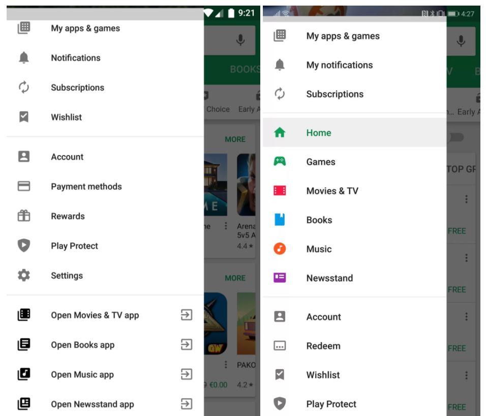 google play store new menu