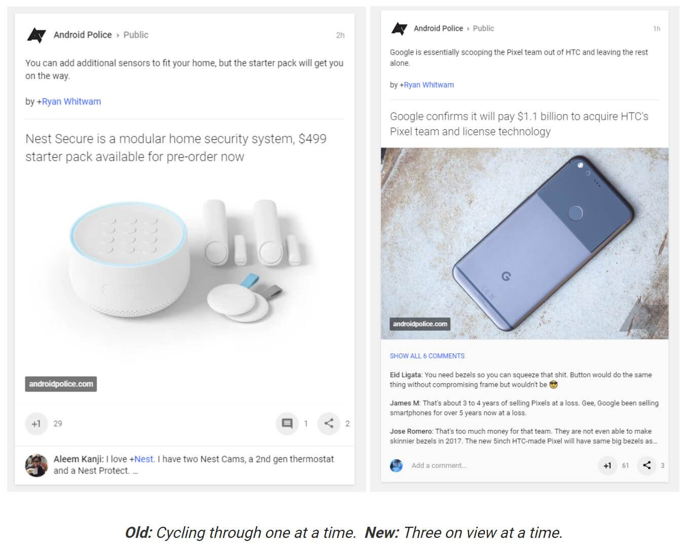 google plus design comments