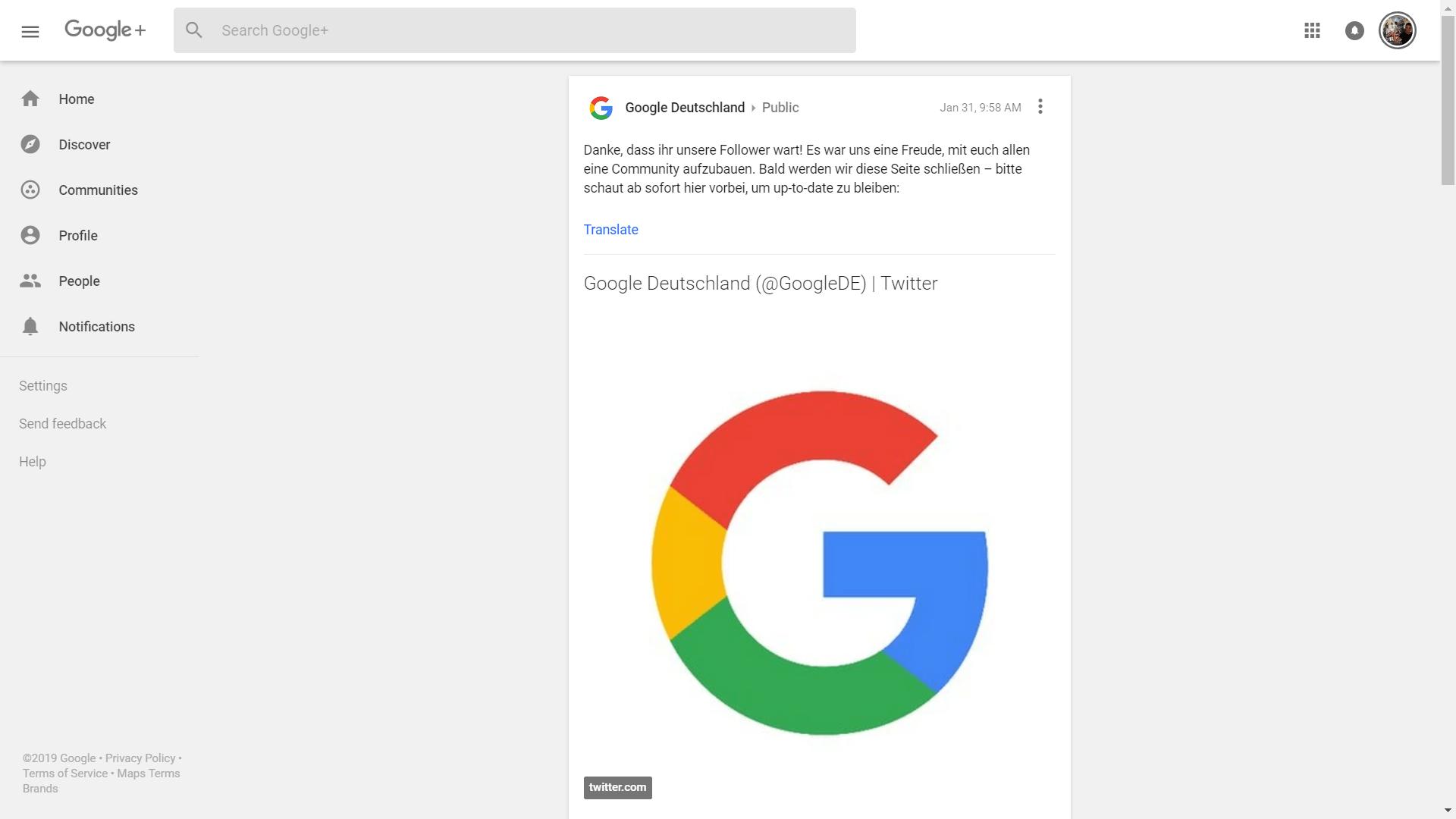 google plus google twitter