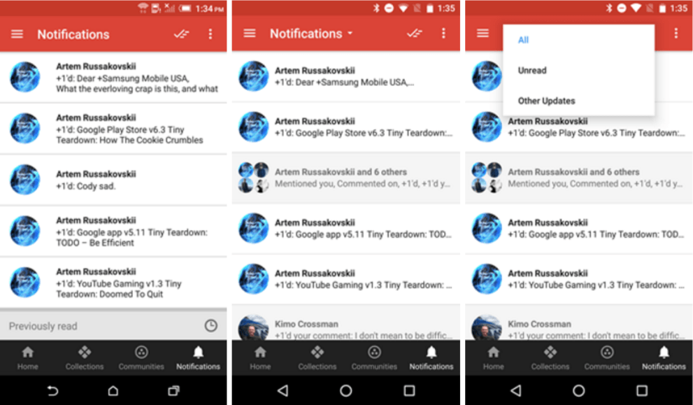 google plus notification filters