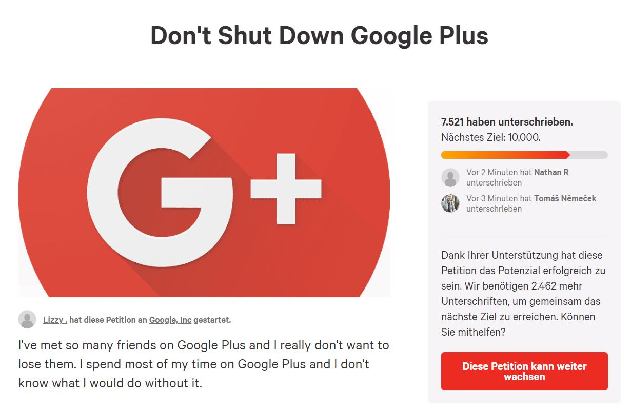 google plus petition