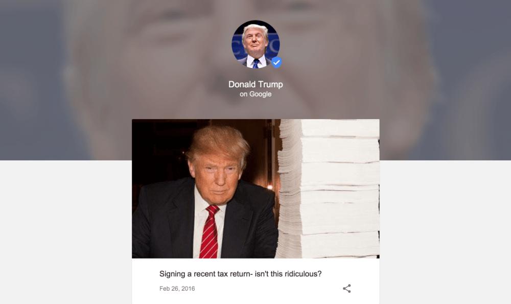 google posts donald trump