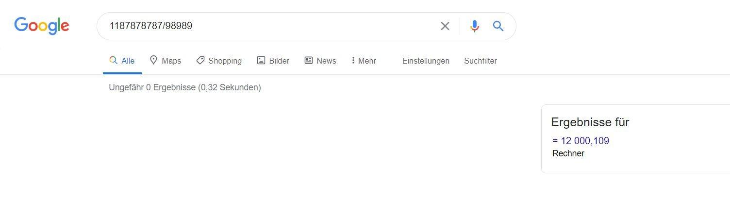 google rechner only result