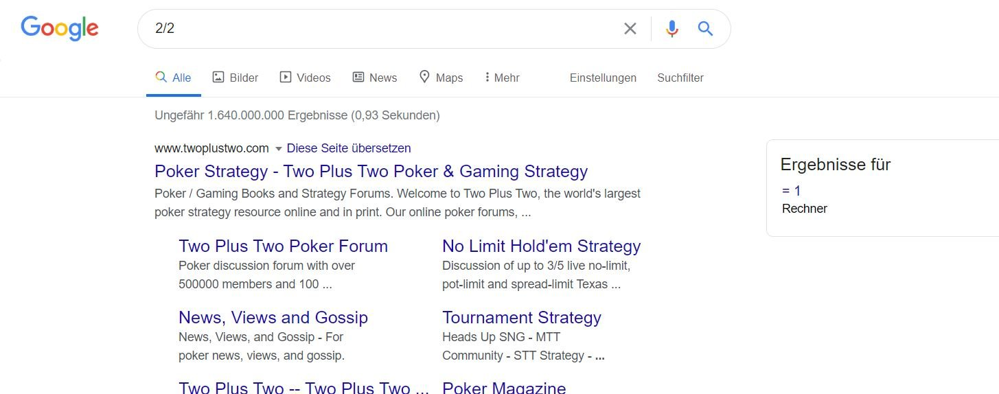 google rechner result und ergebnisse