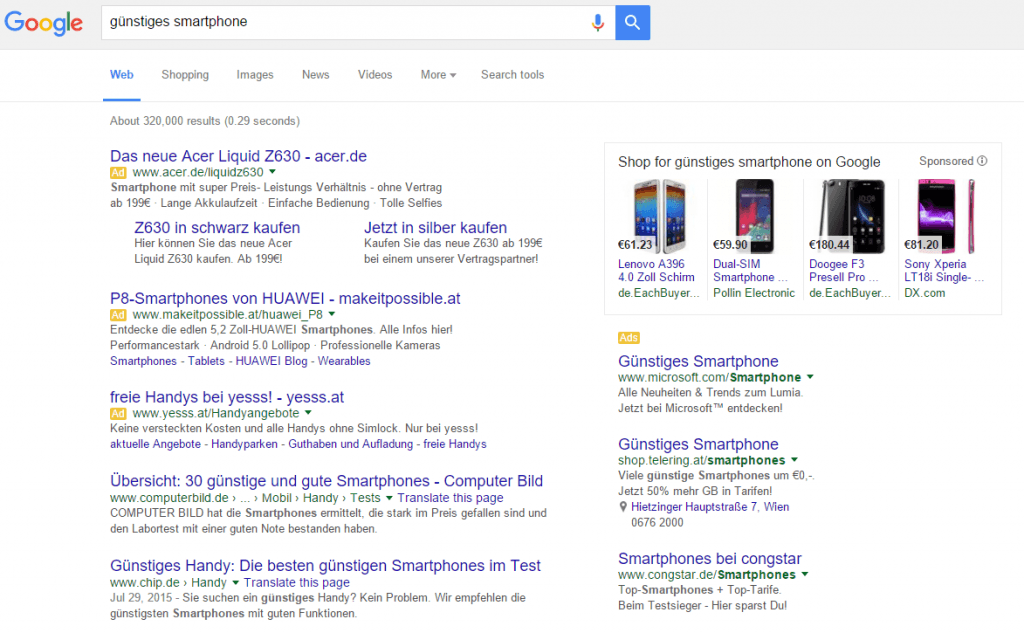 google search and ads