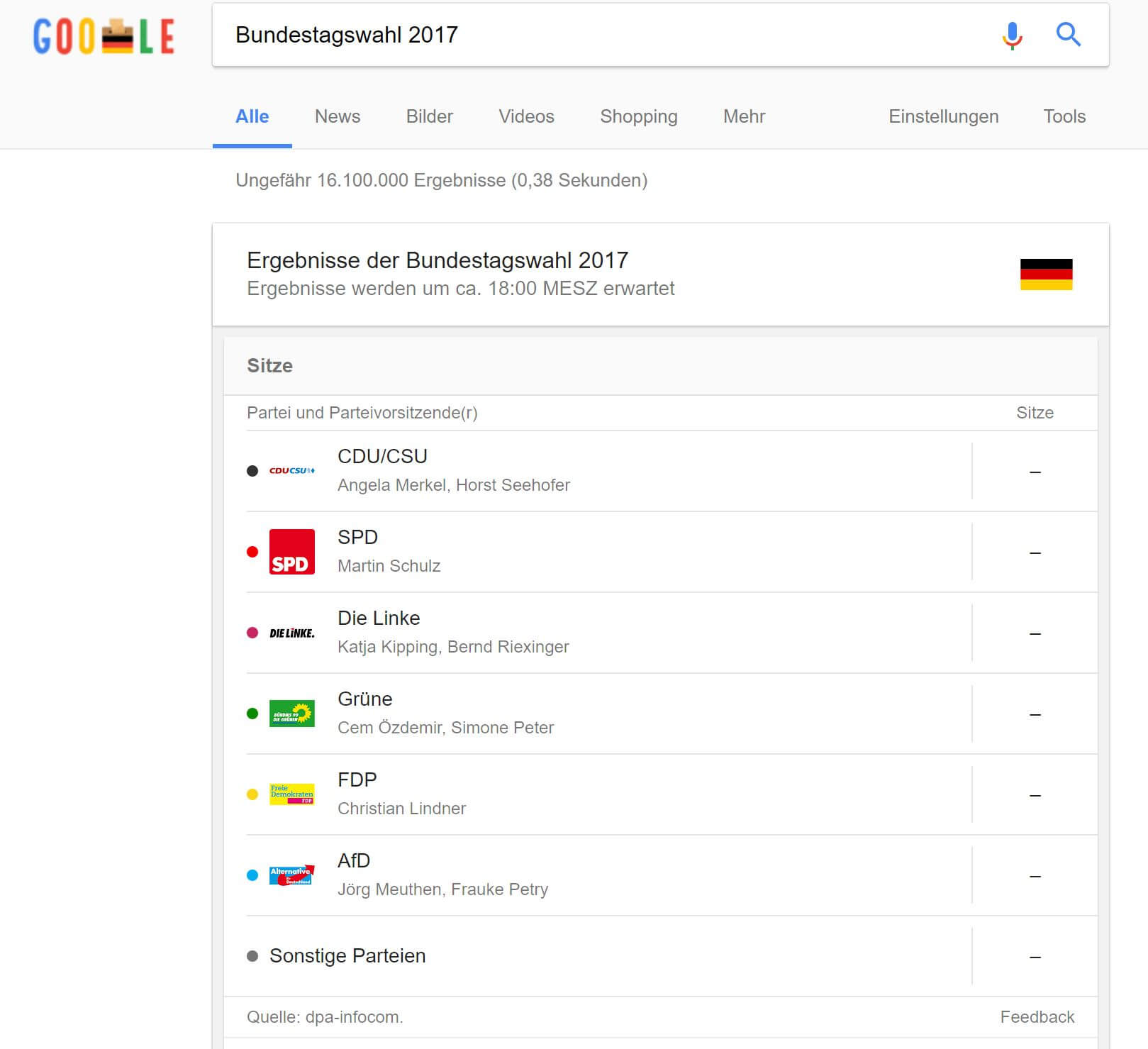 Google Search Bundestagswahl