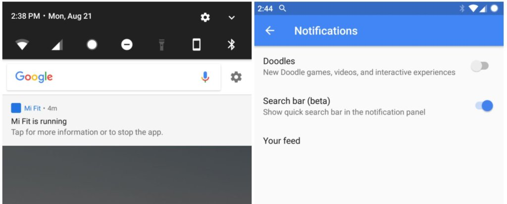 google search notification bar