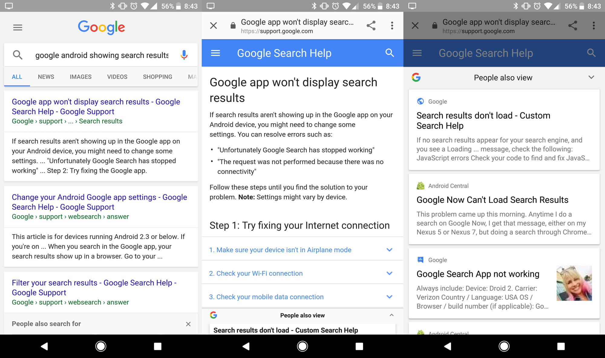 google search results popup