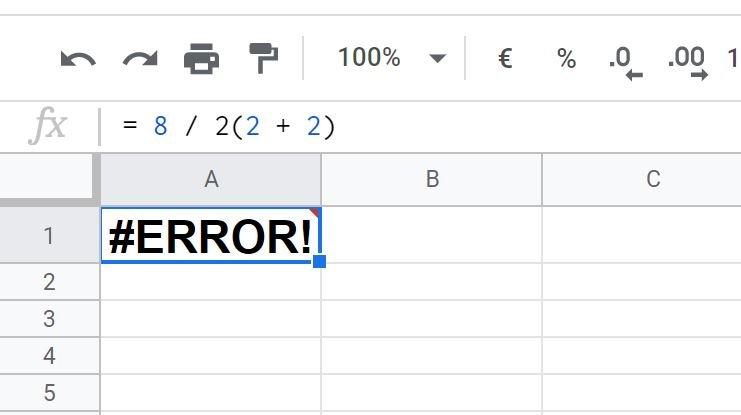 google sheets error
