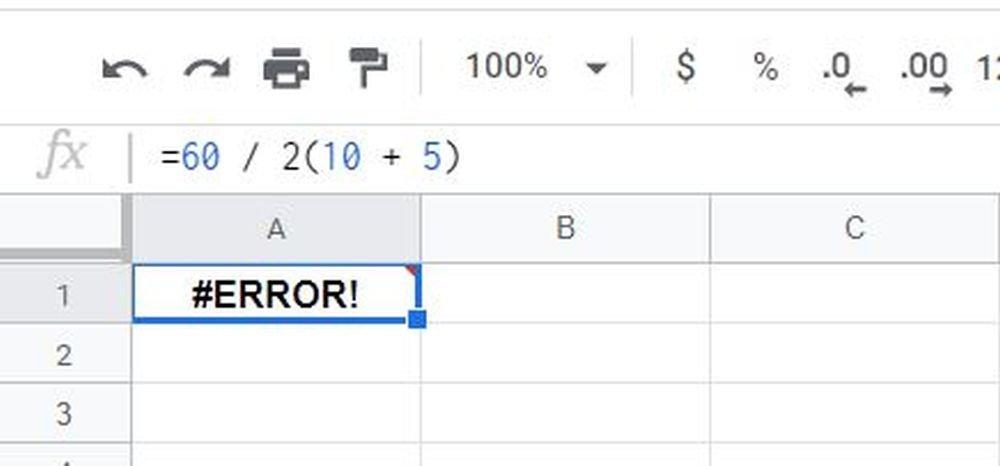 google sheets mathematik error