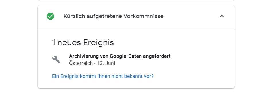 google sicherheitscheck ereignisse