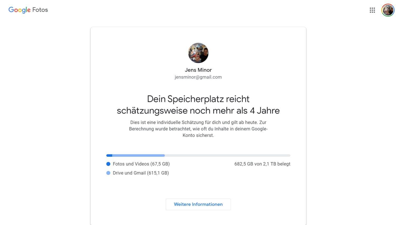 google speicherplatz dauer