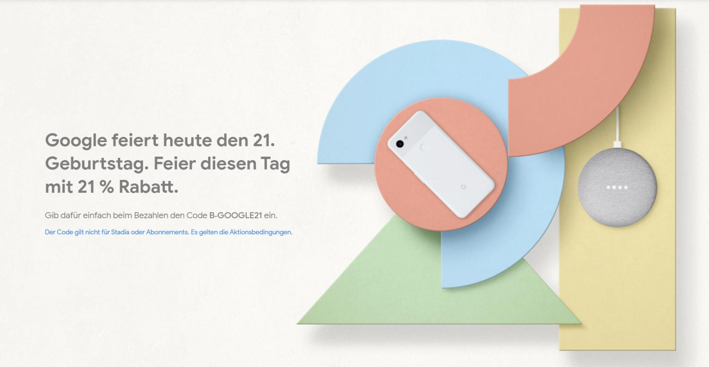 google store aktion 21 jahre google