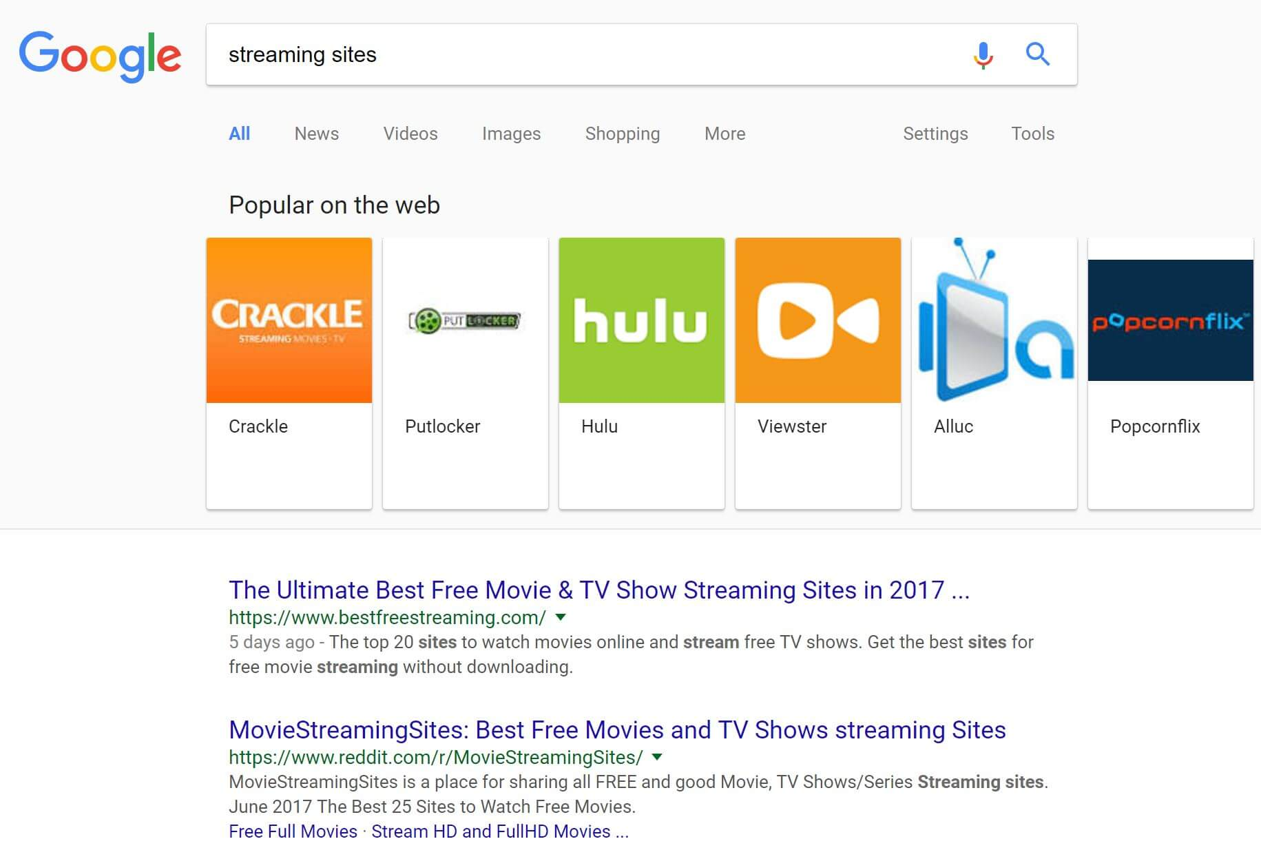 google streaming sites