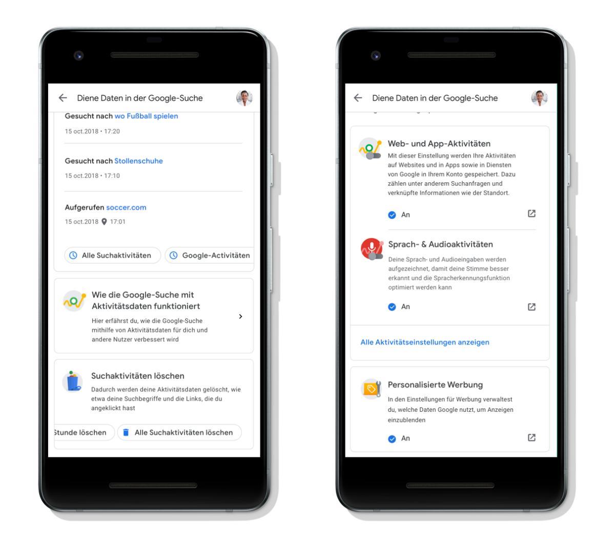 Google Suche Aktivitäten