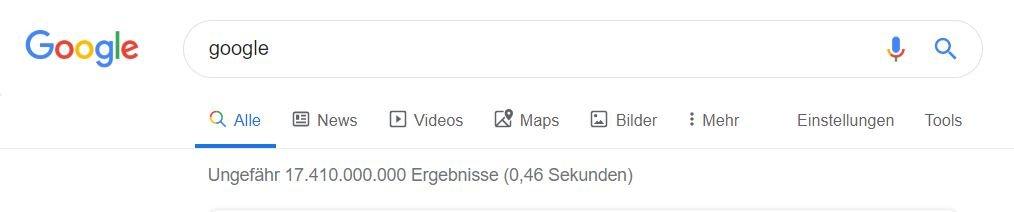 google suche milliarden ergebnisse