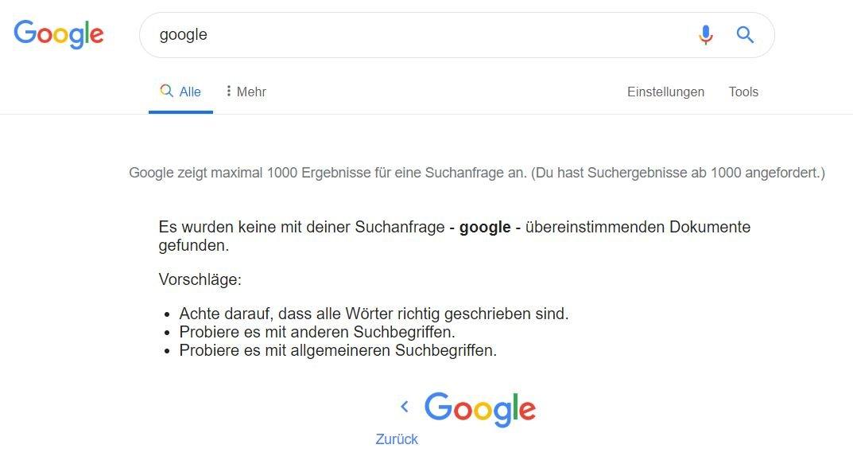 google suche tausend ergebnisse