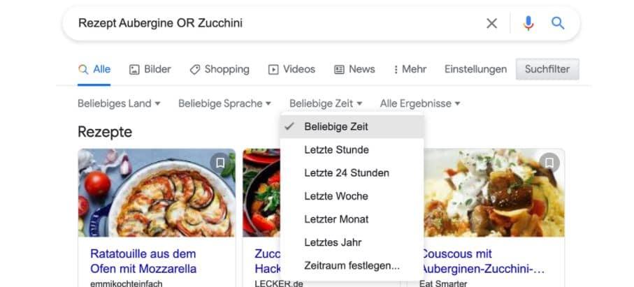 google suchfilter